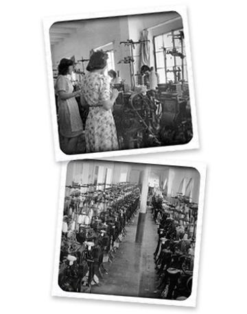 Imagen histórica de una máquina antigua de coser