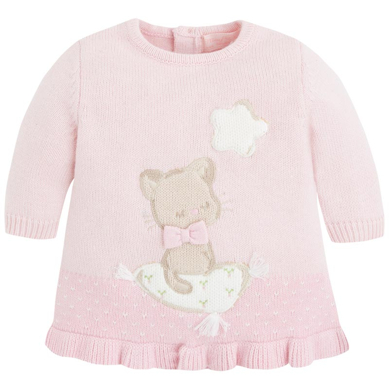 d531b6242 Mayoral Baby Girls Intarsia Sleepy Kitty Cat Knit Sweater Dress