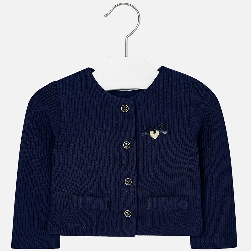 Baby girl jersey cardigan with round neckline Navy blue - Mayoral