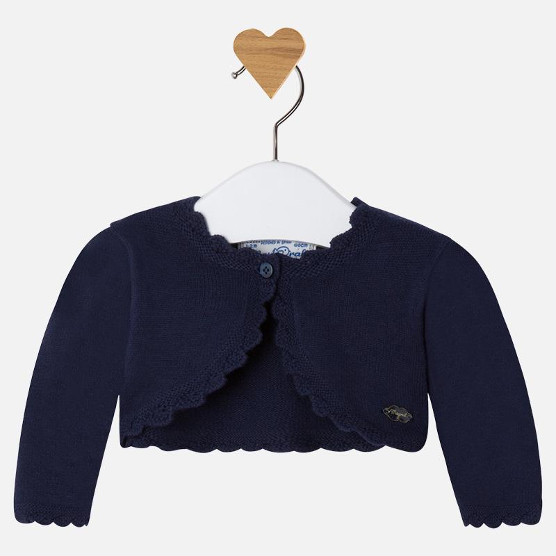 Gilet court manches longues bébé fille en tricot Mayoral