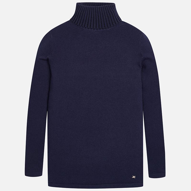 Jersey de cuello cisne para niña en tricot