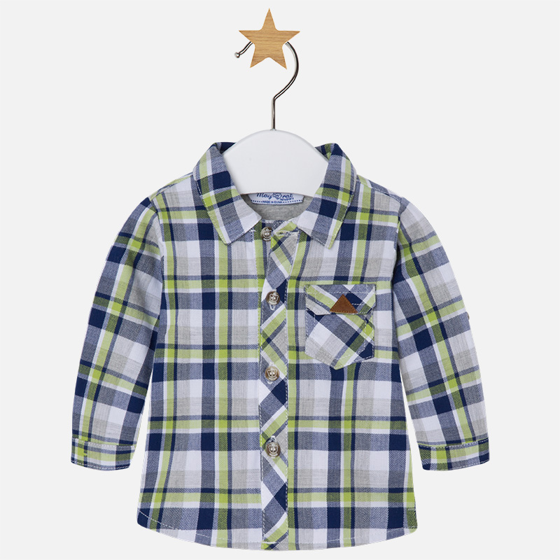 Image of Baby boy checkered long sleeve shirt Mayoral