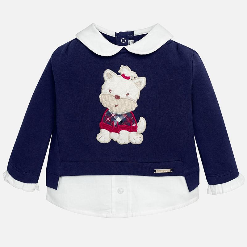 Jersey pullover para bebé niña con imitación de camisa