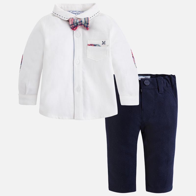 Ensemble bébé garçon pantalon chemise et noeud papillon Mayoral