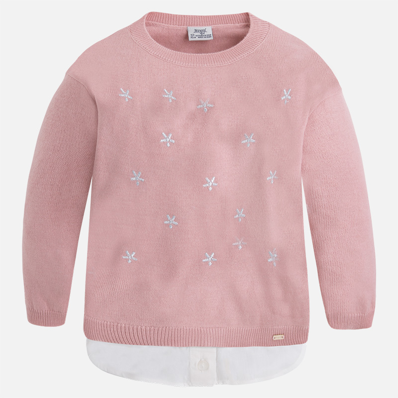 Pull fille en tricot bas chemise Mayoral