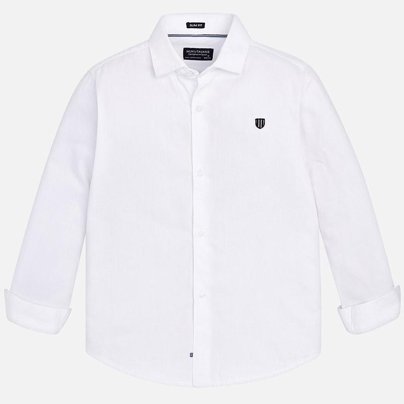 9911280685 Camisa de manga comprida em sarja para menino Branco - Mayoral