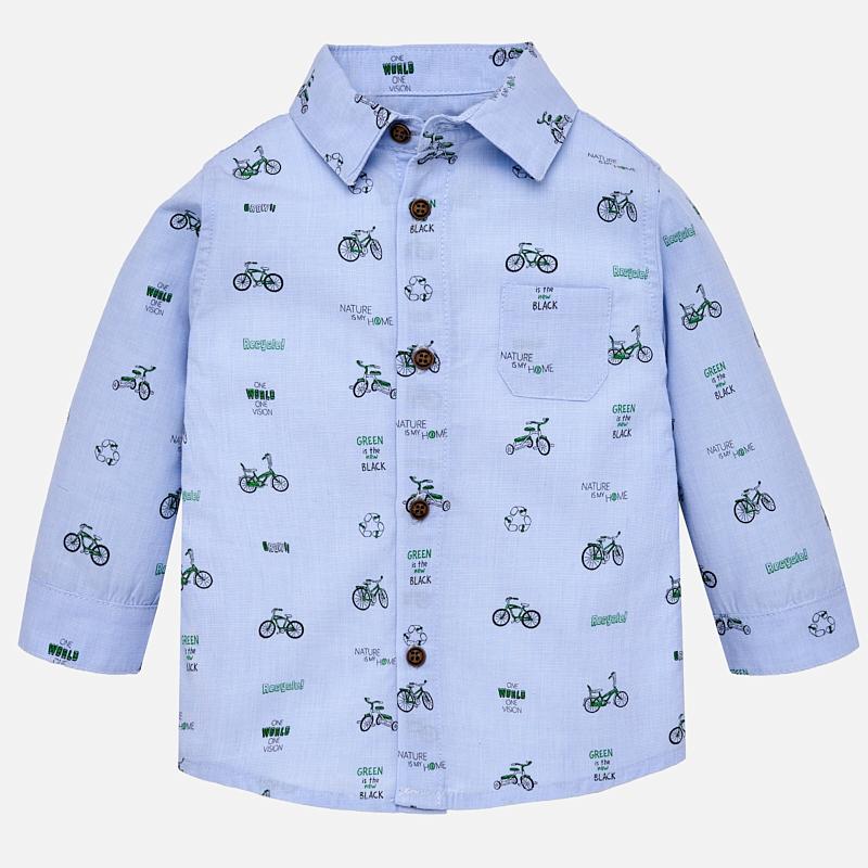 62500c350d Camisa manga comprida microestampada para bebé menino Celeste - Mayoral