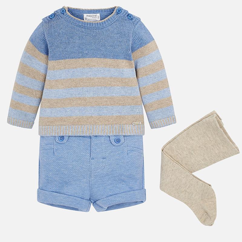 Conjunto jersey, pantalón corto y leotardo para bebé niño Blue - Mayoral