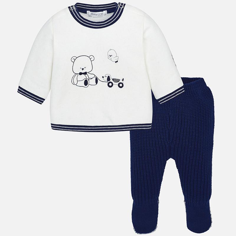 Conjunto polaina de tricotosa y felpa para bebé niño Navy - Mayoral