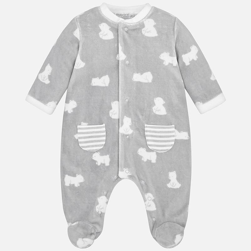 Πιτζαμάκι βελουτέ σταμπωτό για μωρό αγόρι Γκρι - Mayoral 0a41ca20311