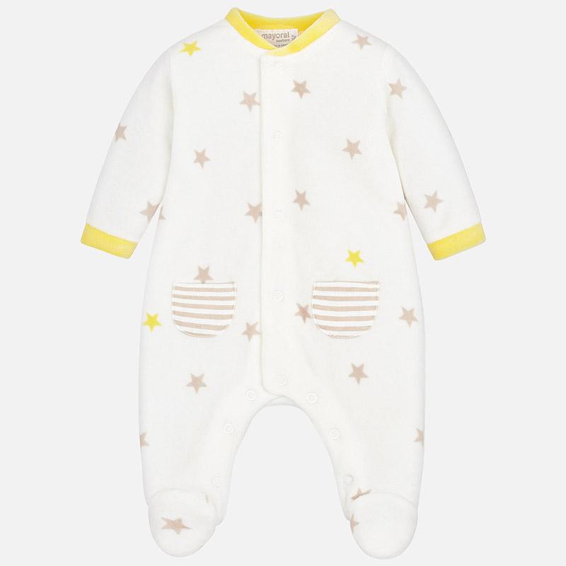 Πιτζαμάκι βελουτέ σταμπωτό για μωρό αγόρι Εκρού - Mayoral 25a14ce5823