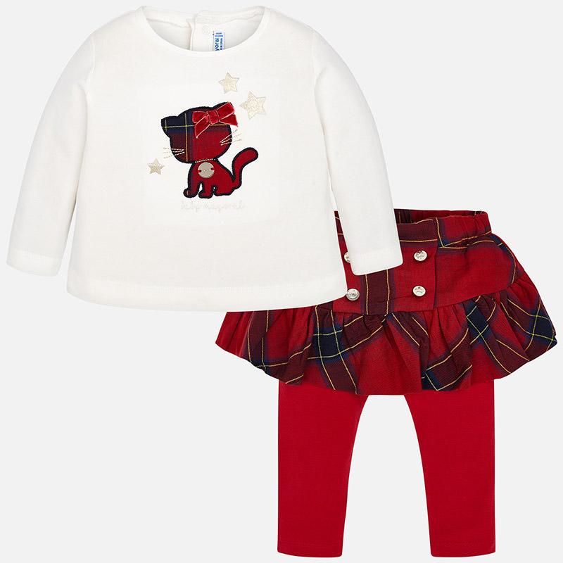Conjunto leggings falda cuadros para bebé niña Rojo - Mayoral