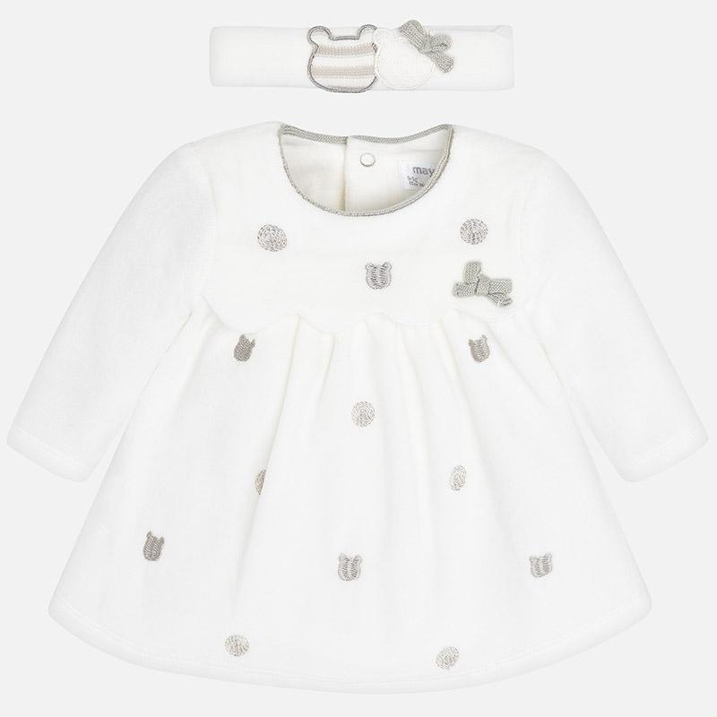 Vestido tundosado con diadema para bebé niña Crudo - Mayoral