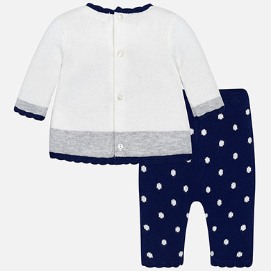 8916fea2b4c2 Knit dress and leggings set for baby girl Navy - Mayoral