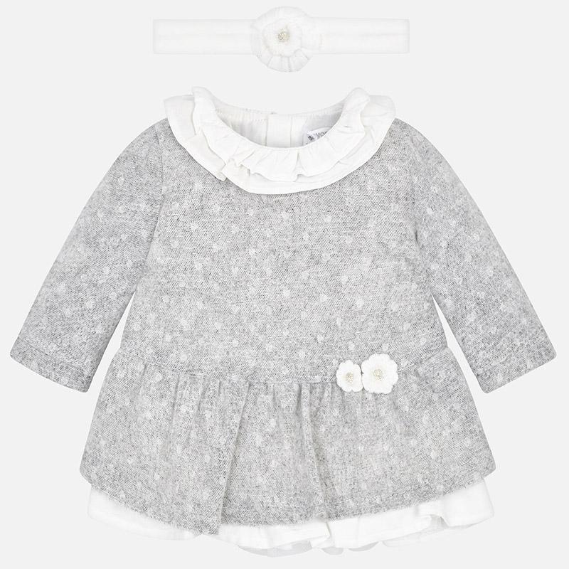Vestido punto con diadema para bebé niña Hielo - Mayoral