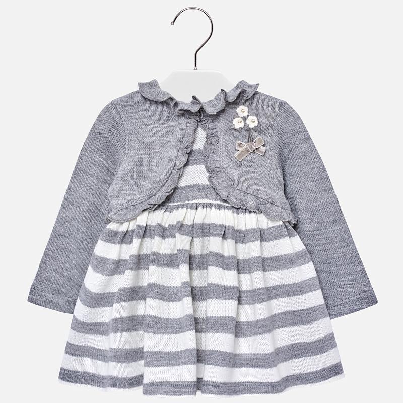 Vestido a rayas con rebeca para bebé niña Plata vigoré - Mayoral