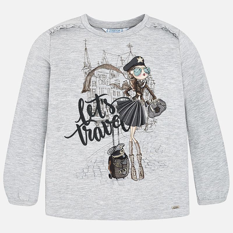 Camiseta manga larga muñeca para niña Plata Vigoré - Mayoral