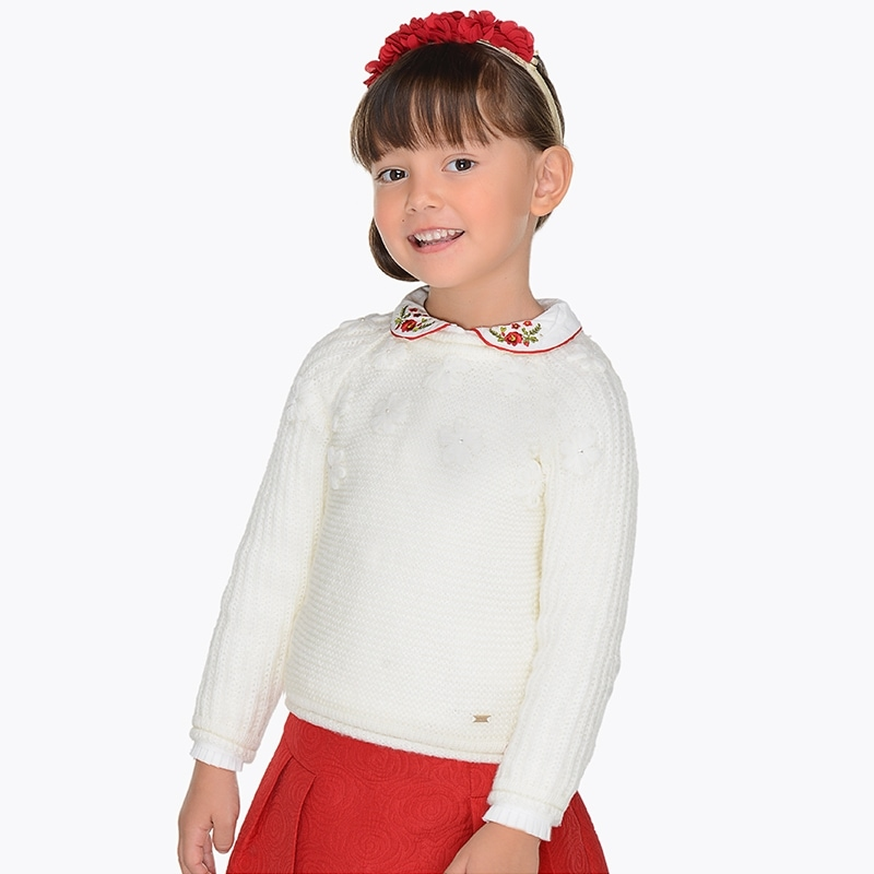 Jersey bordado para niña Crudo - Mayoral