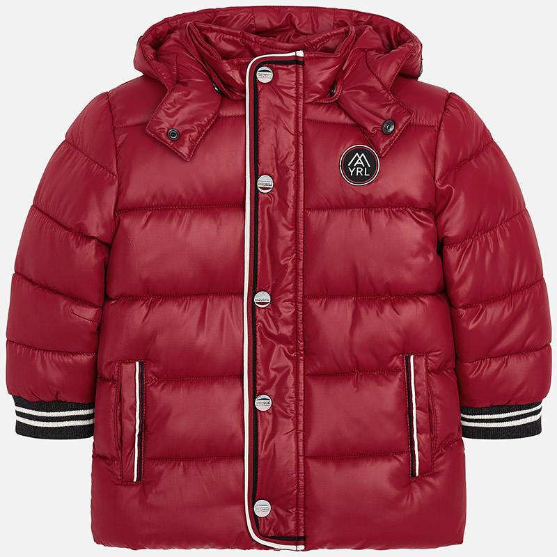 Długa kurtka z kontrastowymi wstawkami dla chłopca Winna czerwień