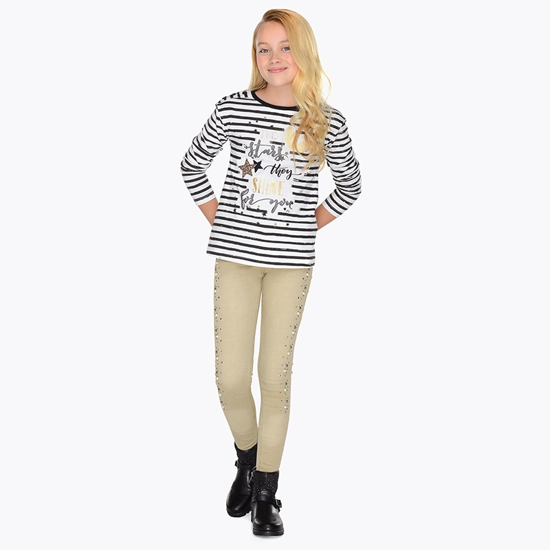 Pantalón largo apliques para niña Skinny fit Tierra - Mayoral