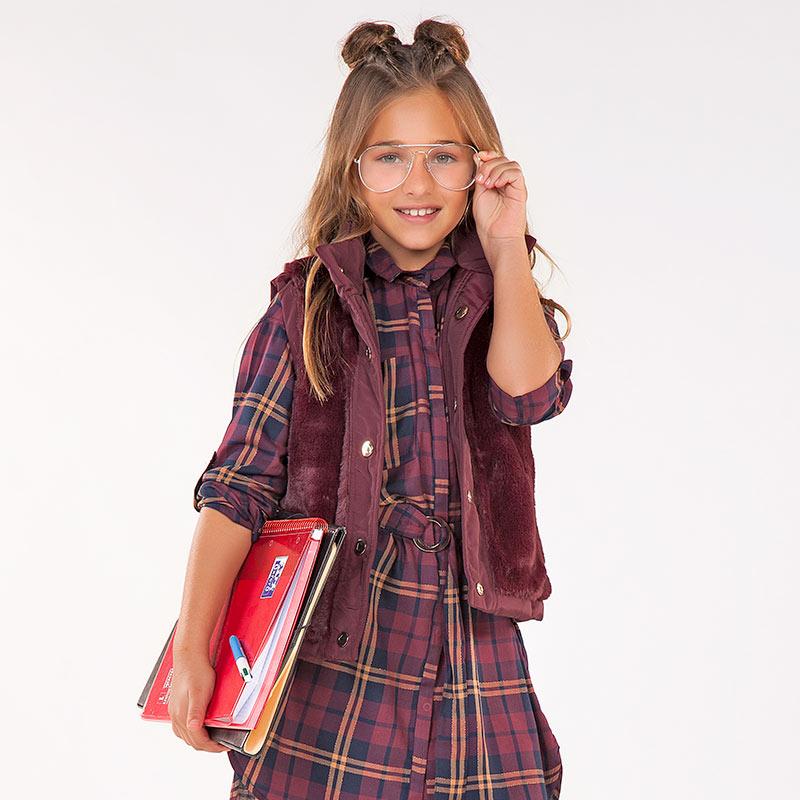 Vestido de cuadros para niña Sangría - Mayoral