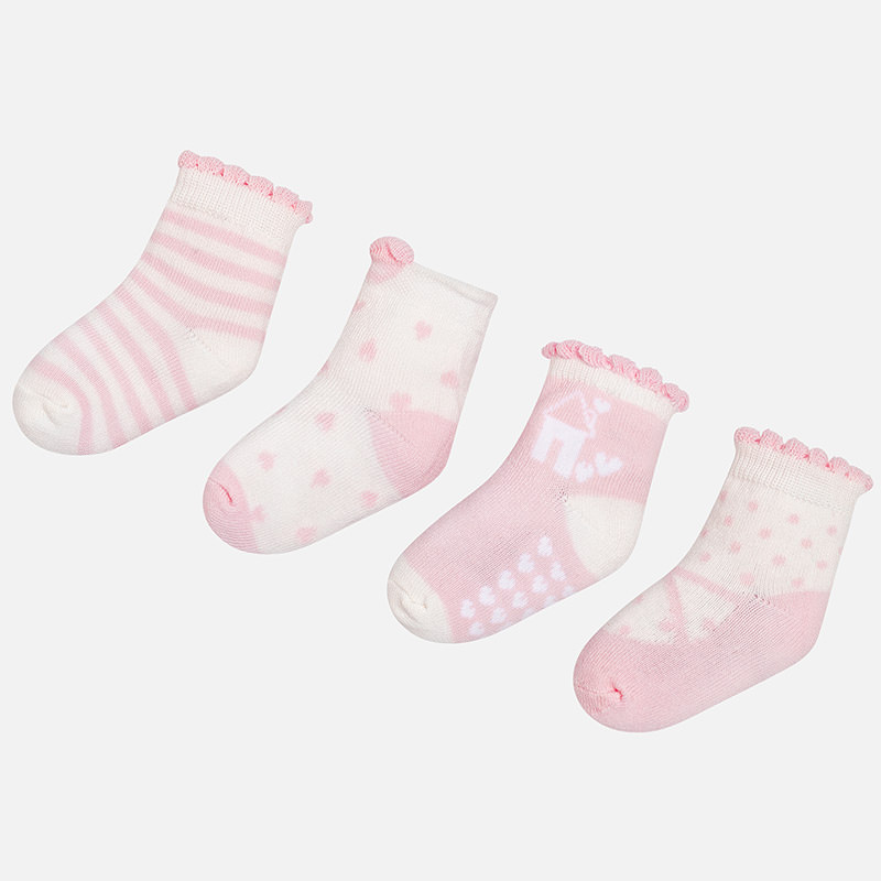 Set 4 calcetines para bebé niña Rosa Baby - Mayoral