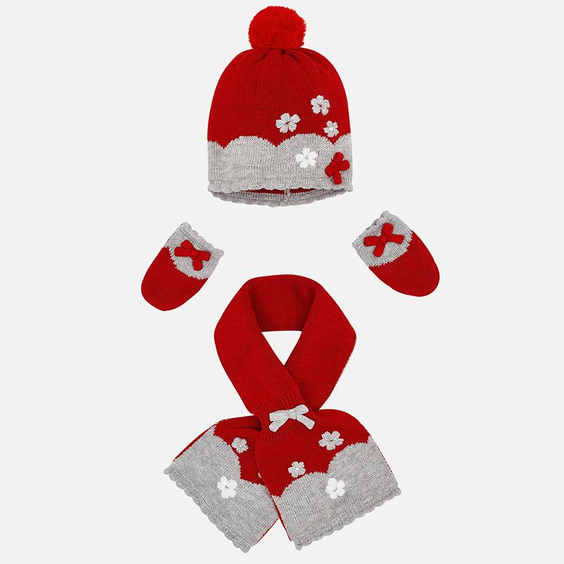Ensemble bonnet, écharpe et moufles pour bébé fille Griotte - Mayoral 718c04d18fb