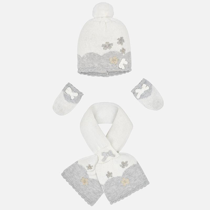 Conjunto gorro, bufanda y manopla para bebé niña Crudo - Mayoral
