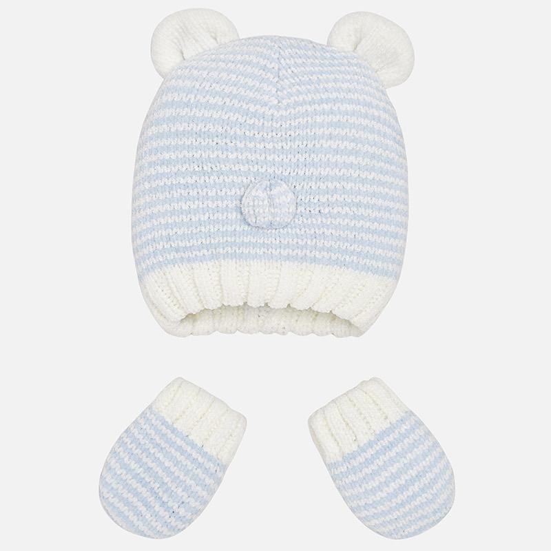 Baby-Strickset Mütze und Fäustlinge Himmel-Mischung - Mayoral