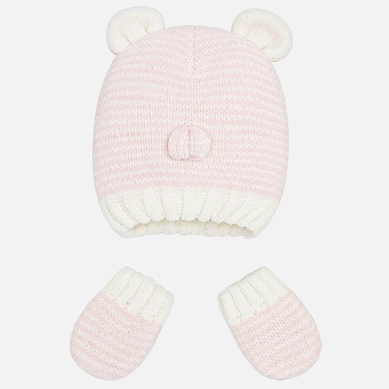 Conjunto tricot gorro y manoplas para bebé Rosa Mezcla - Mayoral