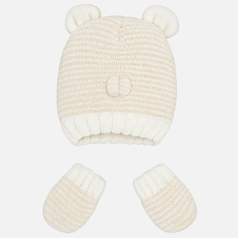 Conjunto tricot gorro y manoplas para bebé Crudo Mezcla - Mayoral