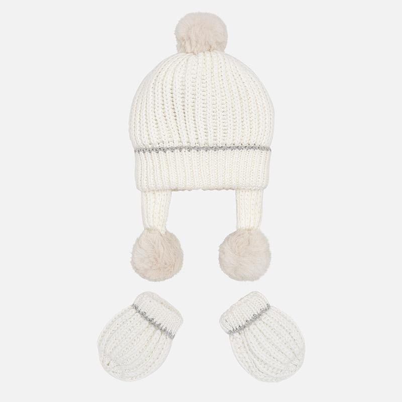 Conjuntos manoplas y gorro tricot para bebé Crudo - Mayoral