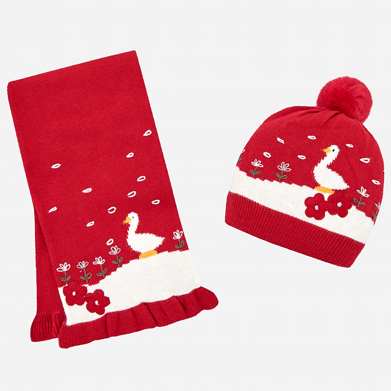 Conjunto gorro y bufanda ocas para bebé niña Rojo - Mayoral