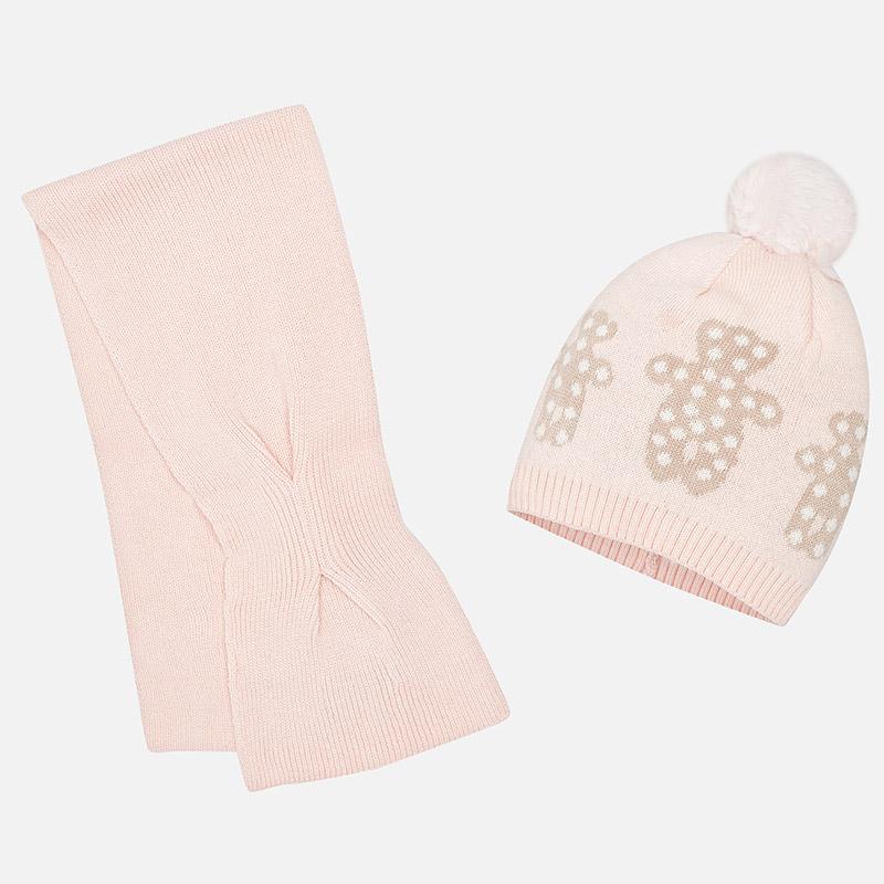Conjunto gorro y bufanda osos para bebé niña Rosa - Mayoral