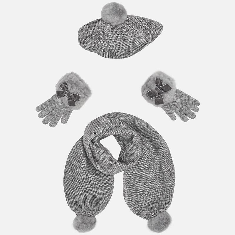 Conjunto gorro, bufanda y guantes para niña Acero vigoré - Mayoral