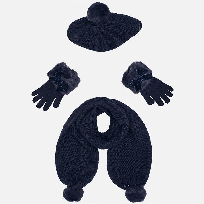 Conjunto gorro, bufanda y guantes para niña Marino - Mayoral