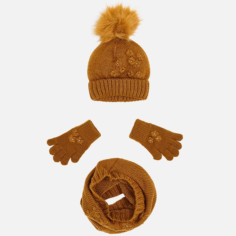 Conjunto gorro, guantes y bufanda para niña Mostaza - Mayoral