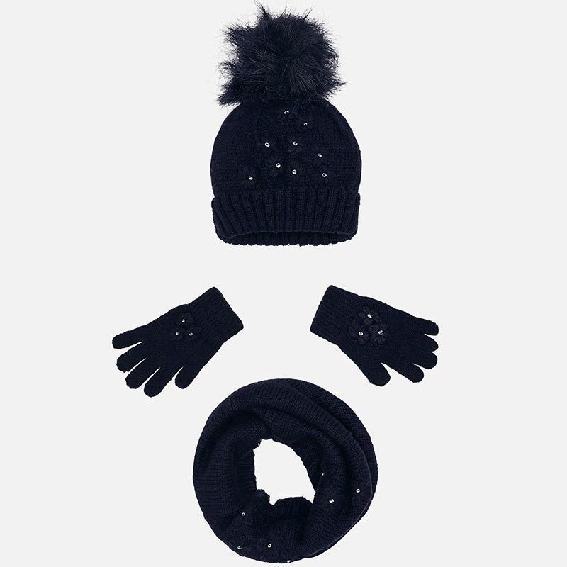 Ensemble bonnet, gants et écharpe pour fille Marine - Mayoral a32a84e4a26