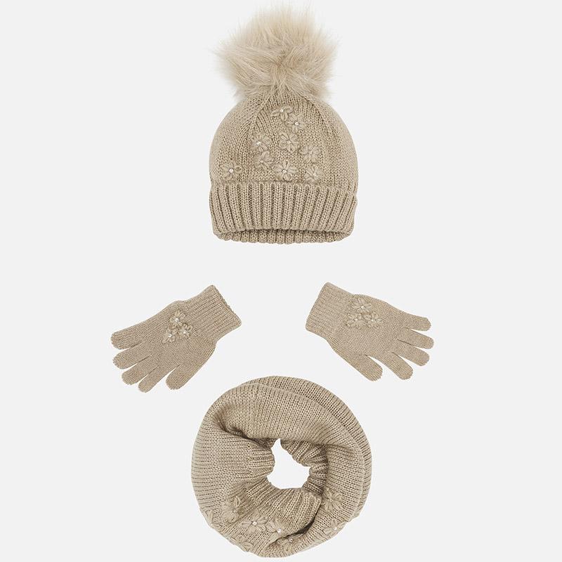 Conjunto gorro, guantes y bufanda para niña Visón vigoré - Mayoral