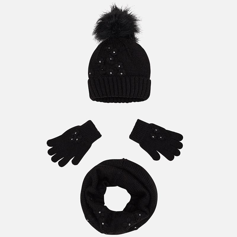 Conjunto gorro, guantes y bufanda para niña Negro - Mayoral