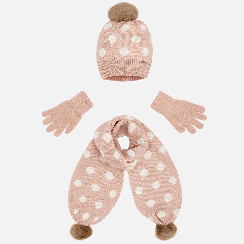 Conjunto bufanda, gorro y guantes para niña Nude - Mayoral