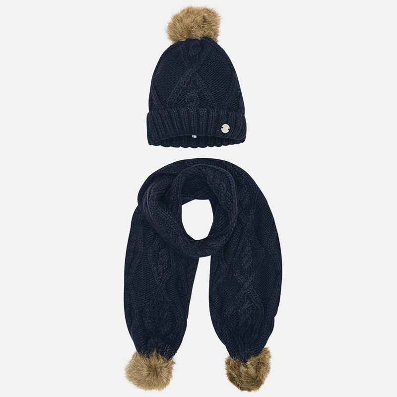 Scarf and beanie hat set for girl Navy blue - Mayoral 8ec7d8cfda9