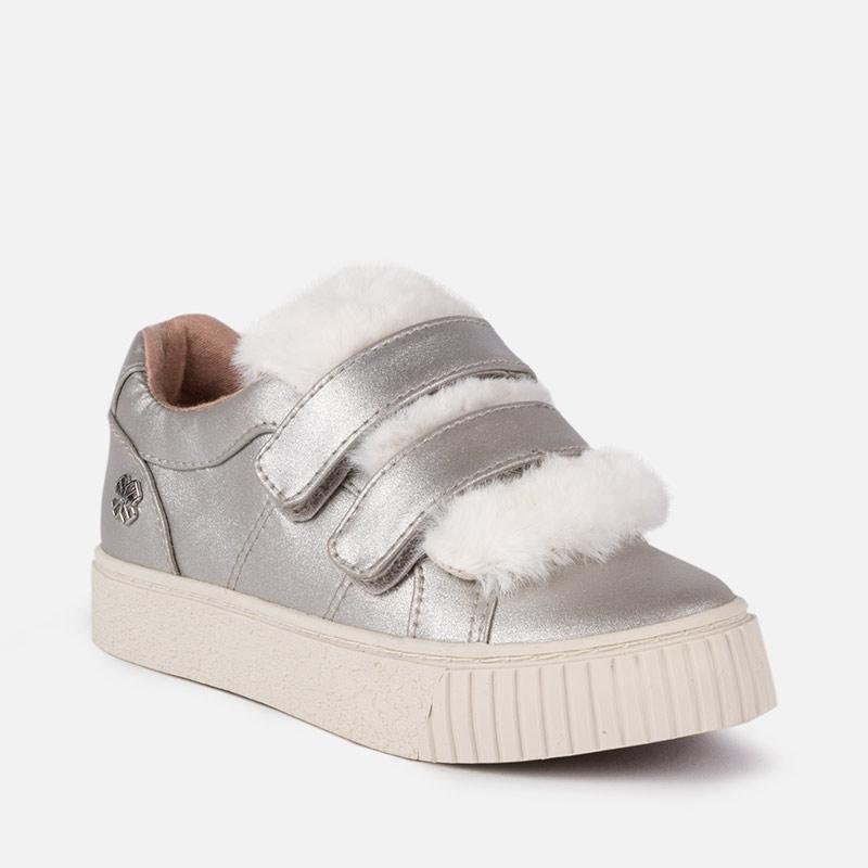 Zapatillas plataforma con pelo para niña Plata - Mayoral
