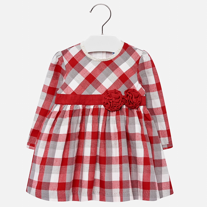 Vestido manga larga a cuadros para bebé niña Rojo - Mayoral