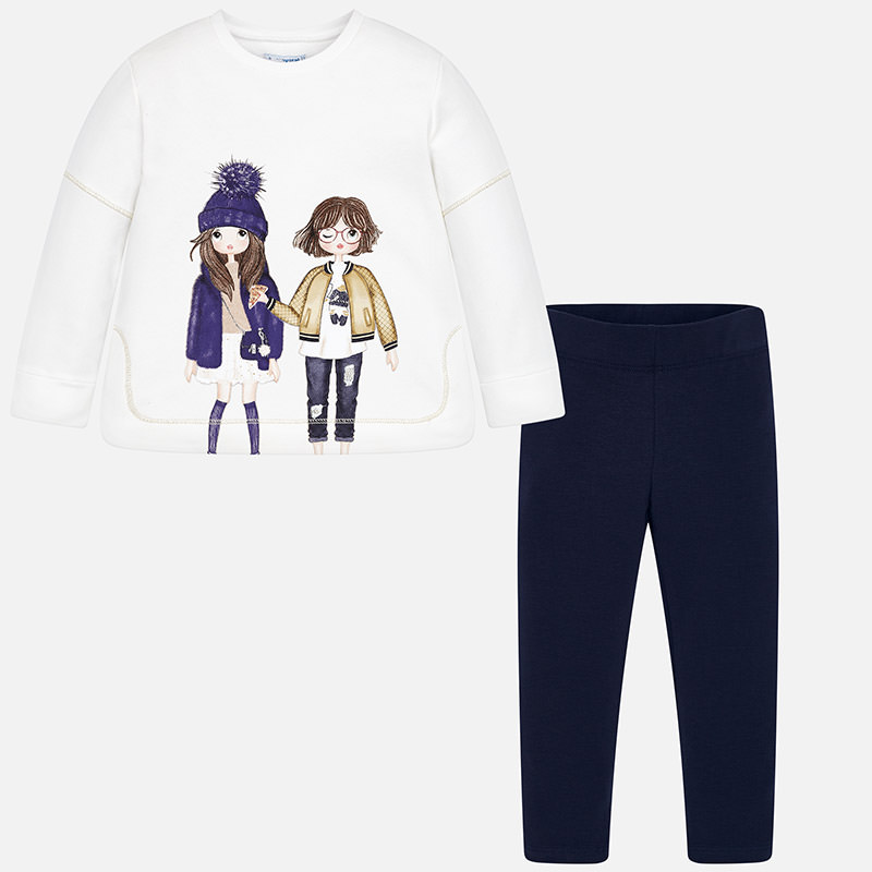 Conjunto sudadera muñecas con leggings para niña Marino - Mayoral