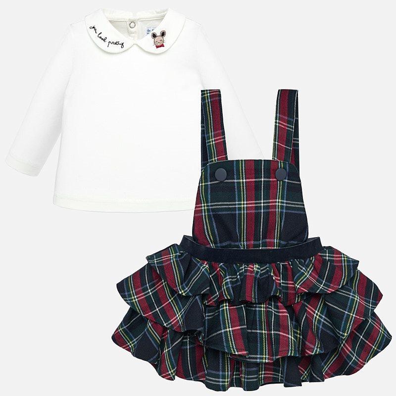 9b1e483a2 Conjunto camiseta y falda peto volantes bebé niña Marino - Mayoral