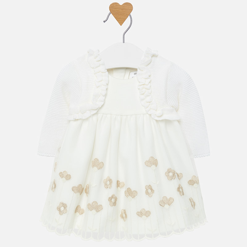 4c78bfaa0 Embroidered dress with cardigan for baby girl Off white - Mayoral
