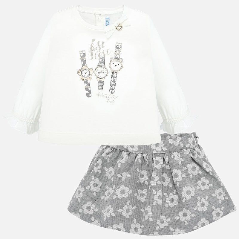 9f9b04827 Conjunto falda y camiseta relojes bebé niña Plata vigoré - Mayoral