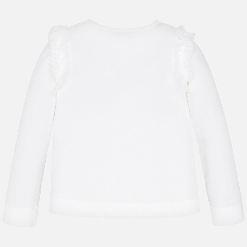 Koszulka z długim rękawem i nadrukiem dla dziewczynki Ecru-Nude