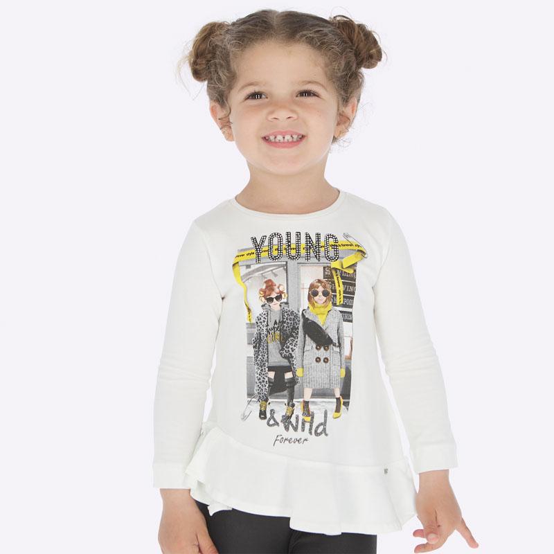 Koszulka z długim rękawem i asymetryczną falbanką dla dziewczynki Ecru